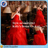Sexy Red Wedding Gowns Strapless Ruched Organza Skirt WeddingDresses