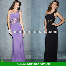 High Quality Chiffion Floor Length Sheath One Shoulder Light Purple Prom Dress Formal