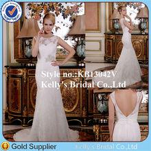 Sexy Deep V Back Short Sleeve Appliqued Fishtail Wedding Dress
