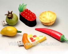 Custom PVC portable fruit usb 2.0 flash drive Fruit USB Memory, pizza USB Drive, Vegetables USB Drive Freshly Baked Hot Dog key
