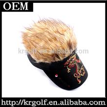 Zipang Studio Fake Hair Hairy Wig Baseball black Golf Visor Hat Cap Tournament