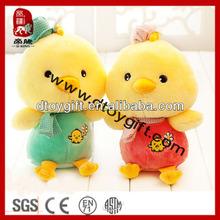 2014 high quality farm animal samll chicken stuffed toys cute yellow couple chicken plush toys dressed chiken soft toy chicken