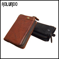 Vintage leather mobile phone wallet case fashion style wallet for men