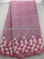 Caliente de color rosa africano doble organza organza tela de encaje para señora del vestido de boda OG0141