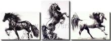 3 panels handmade amazing modern art running horse oil painting on canvas