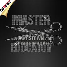 Clothing hotfix design scissors crystal rhinestone applique
