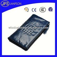 aluminium wallet royal black europe cow leather wallet flip wallet case