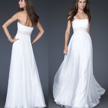 HE0217 off the shoulder stapless white color low back beaded sash discount very cheap elegant flowing long chiffon evening dress