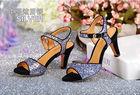 ladies high heel silver glitter sandals shoes women buckle strap high heel sandal pictures new designer fashion lady heel sandal