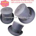 venta al por mayor azo estándar gris sombrero de los hombres con parte superior de alta