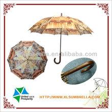 Photo printing straight curved handle umbrella