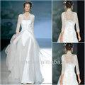Grátis frete CY1703 lindo uma linha de tule cetim manga três quartos vestidos de casamento