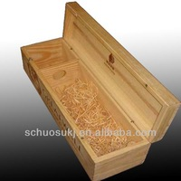 Natural Wooden Wine Box/Wine Case with Handle for Single Bottle,wooden boxes for wine bottles