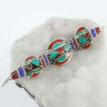 Carnelian Turquoise Stone Silver Tone Brass Bracelet Nepal Fashion Jewelry India