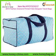 2014 Fashion Diamond Printed Cotton Canvas Fake Designer Travel Bags