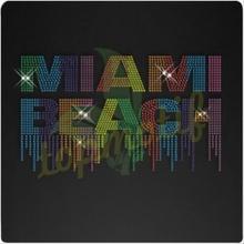 Colorful MIAMI BEACH Rhinestones heat transfers wholesale