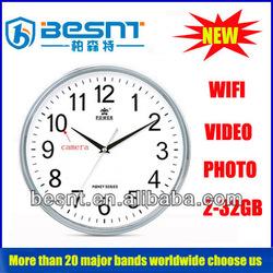 Home Security System 2-32G Memory Card Hidden Video Camera Wall clock Wifi Camera (BS-796)
