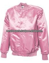 Pink Satin Letterman Jacket