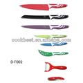 populaires couleur manche plastique revêtement antiadhésif 420 en acier inoxydable couteau de cuisine ensemble