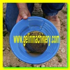 Alluvial mining gold pan for person miner separating gold from sand