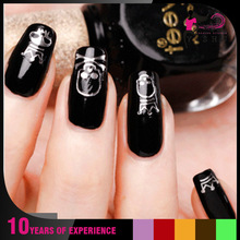 Y089S Silver Hot Stamping Water Transfer printing Nail Sticker skull nail stickers