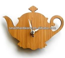 Decorative natural bamboo teapot wall clock