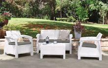 Corfu garden outdoor poly rattan furniture set white