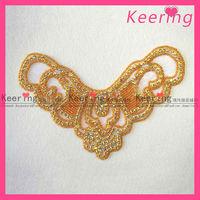 iron-on gold rhinestone applique sexy evening dress WRA-061