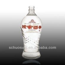 2014 Custom unique design Cheap glass liquor bottle