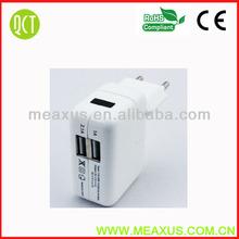 Dual usb wall 5V 2.1A wall charger for smart phone with UK/US/EU/KR/AU plug