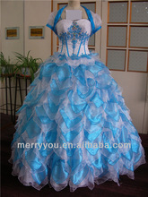 MERRY YOU Embroideried Quinceanera Ball Gown Puffy Skirt Celebration Blue And White Wedding Dress (MYG3010A)