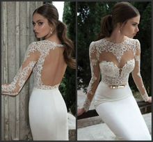 2014 New Design Sexy Long Sleeves High Collar White Lace Sheath Open Back Mermaid Wedding Dresses