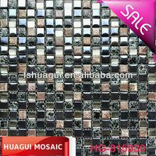 Home decor / living room glass mosaic dark color ice crack glass mix ceramic mosaic tile