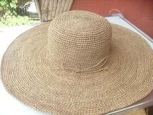 raffia crochet flat brim hat