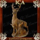Sunglow red marble deer statue