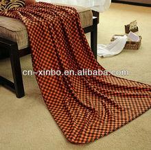 Orange Little Checkered Grid Pattern Anti-pilling Polar Fleece Throw Blanket Idea Gift