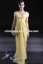HT4659Elegant v neck A-line beaded yellow little bride dress mother of the bride tropical dresses