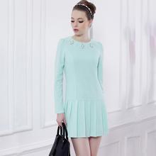 Wholesale Alibaba Latest Fashion Round Collar Full Sleeve Ladies Office Wear Dresses