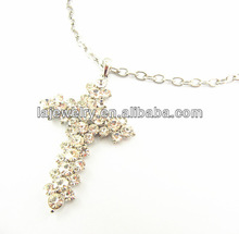 Dongguan made crystals cham silver cross necklace for sale