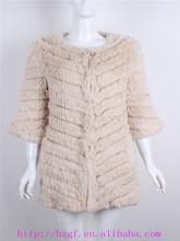 cappotto a maglia giacca con pelliccia di coniglio per abbigliamento donna