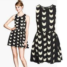 New Fashion 2014 European Style Casual Cat Prints Chiffon Casual Dresses