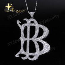 Alphabets B silver with zirconia pendant jewelry wholesale jewelry in pendant XYP100245