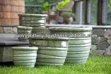 BD0054 Vietnam beautiful design round outdoor glazed ceramic pots, outdoor glazed ceramic planters