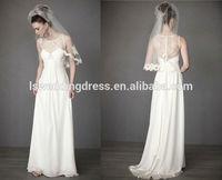 WD1628 white strech satin bow back bateau neckline sleeveless transparent top see through back casual slip wedding dress