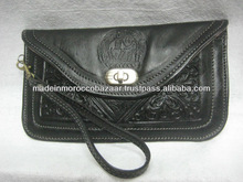 Black Handmade Embossed Genuine Leather Wallets For Women For Sale