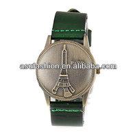 Novelty Green Eiffel Tower Flip Pu Alloy Fashion Watches