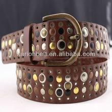 2014 eyelets leather men fashion metal grommet belt