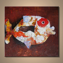 Modern design abstract oil painting of fish on canvas for house (SGS+BV.)
