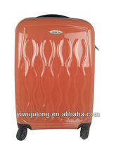 China factory colorful print luggage 4 wheels suitcase ABS PC hard trolley luggage