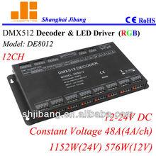 2014 Retailor / Wholesale DMX 512 Decoder Led RGB Controller Led dmx led rgb controller with 12Chanels DMX512 decoder